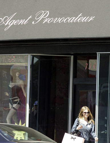Carmen Electra leaving the Agent Provocateur lingerie boutique