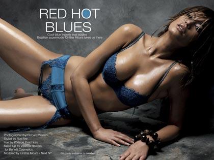 Cinthia Moura in blue Jezebel lingerie