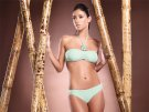Le Doux Green bandeau halter bikini