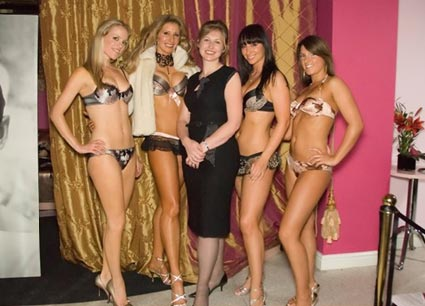 Pudding's owner, Helen Masters, together with the catwalk models after the show