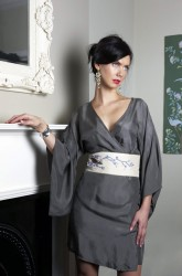 East Village Silk Kimono with Obi Belt