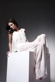 Cream silk chiffon pyjama set