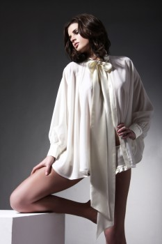 Cream velvet cape with silk tie
