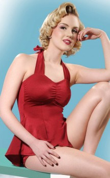 Red Retro Swim Dress by What Katie Did