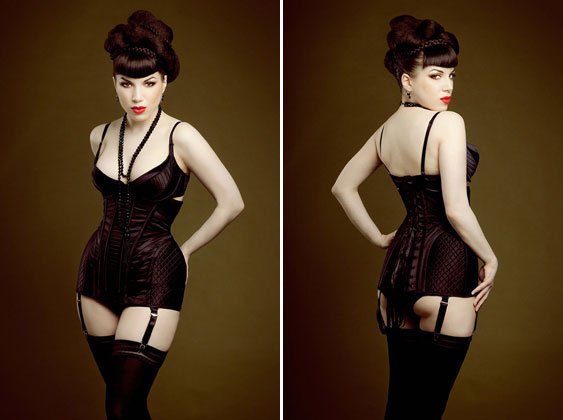 Maxine Plunge bra, longline girdle corset and matching knickers