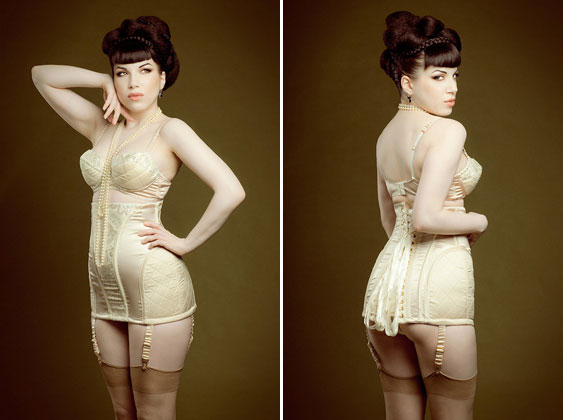 Maxine of London Longline girdle corset, quilted balconette bra, and matching knickers