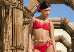 Meriell Club Red and Gold Balconnette Bikini