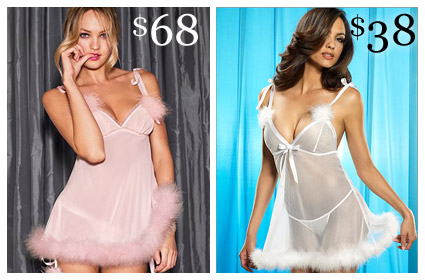 Looks for Less Marabou Babydoll