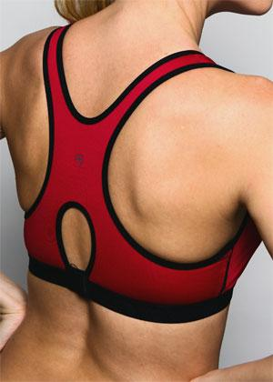 burgundy black peekaboo sports bra back